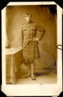 Photograph of a prisoner of war in a uniform with a kilt, endorsed: A[lbert] Croucher, 16 Deal Street, Southampton,  Hants, c.1914-1918