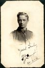 Photograph of a prisoner of war in Munster, Germany, signed: yours truly, P.J. Dunlop; endorsed: To My dear friend Jim Fish, with kind regards from your friend Paddy, In remembrance of our holidays on