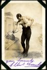 Photograph of a man in a boxing pose, signed: yours sincerely, Albert Croucher, taken in Munster, Germany, 1916