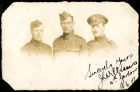 Photograph of three soldiers, prisoners of war, one from the 4th, one Gordon Highlander, and one from The Durham Light Infantry, signed: Sincerely yours J.L. Williams 4th Gordons 18.6.1917; endorsed: