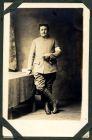 Photograph of a French medical orderly, endorsed: A mon ami Fish, En souvenir d'une douloureuse epoque vecue ensemble, Ch[ ] Cahn, St. Pair Sur Mer Manche, France, c.1914-18