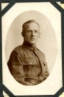 Photograph of a soldier, a prisoner of war, endorsed: at Rennbahn, Munster, Germany, Courtrai Belgium, 29 December 1918, with best wishes, W.D, c.1918