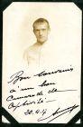 Photograph of a man, signed Bon souvenir à'un lion comarade de captivite, 20 November 1917, Amerougen; endorsed: Guy Amerougen, 16 Rue Victor Masse, Paris, 1917