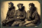 Photograph of an unidentified group of Indian prisoners of war, at Rennbahn, Munster, Germany, c.1914-18