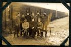 Photograph of an unidentified group of prisoners of war, at Rennbahn, Munster, Germany, c.1914-18