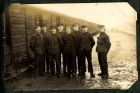 Photograph of an unidentified group of soldiers at Rennbahn prisoner of war camp, Munster, Germany, c.1914-18