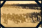 Photograph of a sports event [football match] taking place at Rennbahn prisoner of war camp, Munster, Germany, c.1914-18