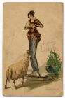 Postcard illustration of a young woman holding a lamb with a sheep looking up at her, from Private Fred Lucas, Italy, to Master Fred Lucas, Black Horse, Low Fell, Gateshead, informing that 'we are off