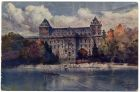 Postcard illustration captioned: Castello del Valentino e Fiume Po, Turin, Italy, from Private Fred Lucas, Italy, to Master Fred Lucas, Black Horse, Low Fell, Gateshead, sending news, 'just wish you c
