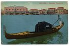 Postcard illustration captioned: Gondola Veneziana, Venice, Italy, from Private Fred Lucas, Italy, to Master Fred Lucas, Black Horse, Low Fell, Gateshead, 4 August 1918