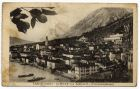Postcard photograph captioned: Limone con Limoneti , Lago di Garda , Italy, from Private Fred Lucas, Italy, to Master Fred Lucas, Black Horse, Low Fell, Gateshead, concerning the weather 'lovely, but