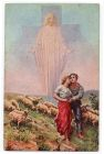 Postcard illustration of Christ watching over a pair of lovers shepherding sheep on a hillside, captioned: Foi et amour, from Private Fred Lucas, Italy, to Master Fred Lucas, Black Horse, Low Fell, Ga