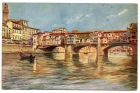 Postcard illustration of a gondola and the 'Ponte Vecchio' Florence, Italy, from Private Fred Lucas, Italy, to Master Fred Lucas, Black Horse, Low Fell, Gateshead, reporting that he is off to the moun