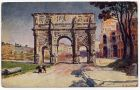 Postcard illustration captioned: Arco di Constantino, Rome, Italy, from Private Fred Lucas, Italy, to Master Fred Lucas, Black Horse, Low Fell, Gateshead, 27 August 1918