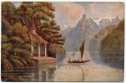 Postcard illustration of a sailing boat on a lake with mountains in the distance, from Private Fred Lucas, Italy, to Master Fred Lucas, Black Horse, Low Fell, Gateshead, 2 October 1918