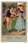 Postcard illustration of a boy and a girl in nineteenth century costume, the boy presenting the girl with a bouquet of flowers, captioned: Sinceri Auguri, from Private Fred Lucas, Italy, to Master Fre
