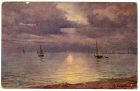 Postcard illustration of a seascape at dusk with sailing boats in the distance, from Private Fred Lucas, Italy, to Master Fred Lucas, Black Horse, Low Fell, Gateshead, reporting that 'we are now havin