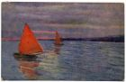 Postcard illustration of two sailing boats on a lake, from Private Fred Lucas, Italy, to Master Fred Lucas, Black Horse, Low Fell, Gateshead, reporting that he is in a little Italian town and had two