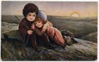 Postcard illustration of a small boy and girl hugging one another by the sea at sunset, from Private Fred Lucas, Italy, to Master Fred Lucas, Black Horse, Low Fell, Gateshead, reporting that 'we have