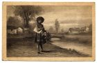 Postcard illustration of a young girl standing by a river holding a bunch of flowers, from Private Fred Lucas, Italy, to Master Fred Lucas, Black Horse, Low Fell, Gateshead, reporting that 'we are bil