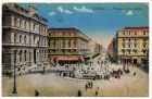 Postcard illustration captioned: Piazza della Borsa, Naples, Italy, from Private Fred Lucas, Italy, to Master Fred Lucas, Black Horse, Low Fell, Gateshead, reporting that 'we have been on the move a l