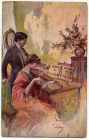 Postcard illustration of a young man teaching a young woman to play the violin, captioned: Inno a Trenio e Trieste, from Private Fred Lucas, Italy, to Master Fred Lucas, Black Horse, Low Fell, Gateshe