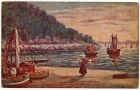 Postcard illustration of fishing boats beside a lake, from Private Fred Lucas, Italy, to Master Fred Lucas, Black Horse, Low Fell, Gateshead, concerning the victory celebrations at home, 18 November 1