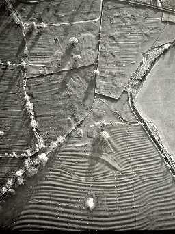 Aerial view of East Matfen deserted medieval village earthworks. Photo © Tim Gates.