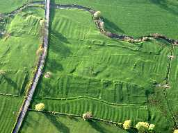 Aerial view of the earthwork remains of South Middleton deserted medieval village. Photo © Tim Gates.