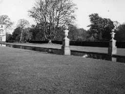 Canal with basin and statue at Blagdon Hall. Photo Northumberland County Council, 1956.