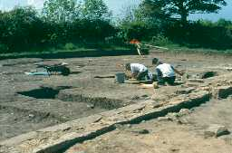 Archaeologists excavating at Chevington chapel in 1997. Photo by Northumberland County Council.