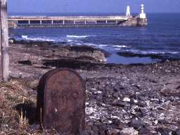 A harbour marker at Amble.