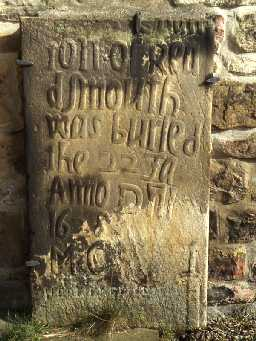 17th century gravestone at Bellingham Church.