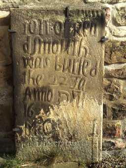 17th century gravestone at Bellingham Church. Photo by Harry Rowland.