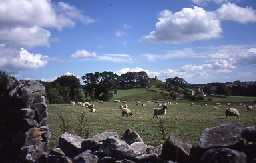 View across fields to Harbottle Castle and village. Photo by Northumberland County Council.