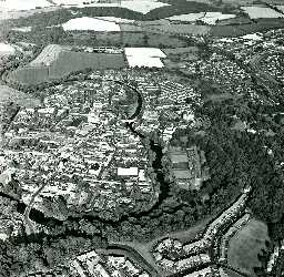 Morpeth town from the air. Copyright Tim Gates, 2003.
