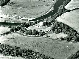 Norham Castle from the air. Copyright Tim Gates, 2003.