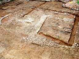 Excavated plan of medieval church, Bondington. Photo by The Archaeological Practice, 1998.