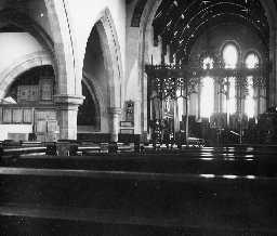 Interior of All Saints Church, Rothbury. Photo Northumberland County Council, 1958.