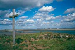 Cross on St Cuthbert's Isle, Holy Island. Photo by Northumberland County Council.