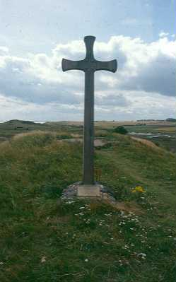 Cross marking the site of St Waleric's Chapel, Alnmouth. Photo by Glasgow University.