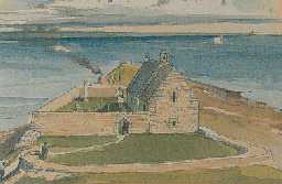 Reconstruction of St Ebba's Chapel, Beadnell. Drawn by Terry Ball.