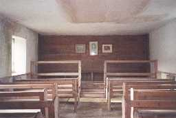 The interior of Coanwood Friends' Meeting House after repair works in 2001. Photo by Northumberland County Council.
