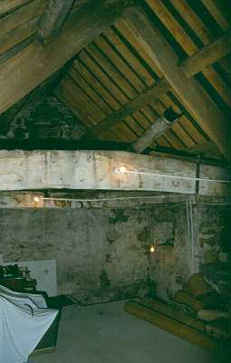 Roof beams inside The Bastle at Millhouse Grange, Bardon Mill. Photo by Peter Ryder.