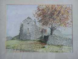 Watercolour of west elevation of Scargill Castle.  1976