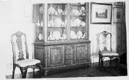 Coxhoe Hall interior. China cabinet and chairs c.1910