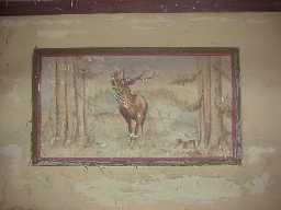 Low Harperley P.O.W Camp. Mess Hall, wall painting of a Stag.  January 2001