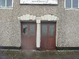 Main door showing re-used lintols and column from Hardwick Park.  March 2001