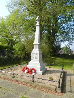 Back and right side of War Memorial Cross, Church Lane, Hunwick 2016