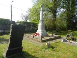 Long shot of back and right side of War Memorial Cross, Church Lane, Hunwick 2016